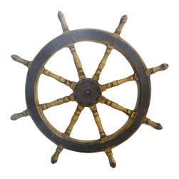 """Golden Lotus - Chinese Yellow Lacquer Old Ship Steering Wheel Display - Dimensions:  Dia 42.5""""  thickness 2.5"""""""