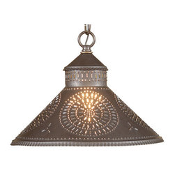 Irvin's Tinware - Stockbridge Shade Light with Chisel Design, Blackened Tin - Designed to be smaller in size so that it can be used above a sink or in pairs above a kitchen island. Finished with a fine crimping on the edges and a rustic punched chisel design.