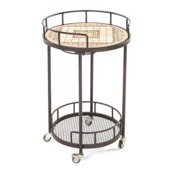 Basilica Mosaic Outdoor Serving Cart - Add old world elegance and modern convenience to your home with the Basilica Mosaic Outdoor Serving Cart. Warm tones and an intricate design of varying tile sizes and shape make this serving cart a beautiful addition to your patio furniture. Made from hand forged wrought iron, the serving cart frame is dipped in a zinc-phosphate bath and E-coated to create a weather-resistant coating. It's finished with a powder coating to provide an extra layer of rust-resistant protection that also creates a stronger, richer color. The expert craftsmanship of this serving cart is displayed in its hand-laid mosaic tiles on the top shelf. Made from natural sources such as marble, slate, and travertine, each tile varies slightly in color, resulting in a truly unique serving cart. The top is then grouted with industrial adhesives for durability so the natural beauty of this table is maintained. Under the top shelf is wine glass rack so you have a safe place to store your wine glasses without taking up precious space. A bottom shelf gives you additional storage space for bottles or dishes, while the wheels makes moving this serving cart from place to place easy. Enjoy serving wine, mixed drinks, tea, lemonade, coffee, and anything else your guests may desire with ease. And when not in use, this beautiful serving cart doesn't need to be hidden away in storage, but can be displayed alongside the rest of your patio decor. Additional Features Features a wine glass rack underneath top shelf Wheels on bottom makes it easy to move Bottom shelf is perfect for storage Cart frame is weather and rust resistant Made with rust proof stainless steel hardware Iron has a thickness of 5mm to 6mm Mosaic tiles are hand-set Tiles come from natural sources Sources include marble, slate, and travertine Colors will vary slightly on each cart No 2 carts are exactly alike Grouted with industrial adhesives for durability Easy to clean with mild soap and water Includes 1 serving cart Some assembly required 1 year limited warranty About Mosaic Table TopsThe mosaic tiles are hand-set and grouted with industrial adhesives for maximum durability. What this means is if the mosaic top gets wet, the grout won't dry out and crack like traditional standard grout would. The top is then finished and sealed with an industrial-grade sealant called Fluorocarbon for superior protection. Natural wear and tear of elements may lead to blistering of the silicone top seal and natural aging of the tile materials. The hand-forged wrought-iron table frame is dipped in a zinc-phosphate bath and then electrostatically coated to help create a weather-resistant coating to delay the onset of rust. Following a quality check for strength and durability, iron welds are ground for aesthetic appeal. Finally, a powder-coated finish is applied and baked onto the iron for stronger color and protection. As fetching as it is functional, this is a piece that will never go out of style. About Alfresco HomeOffering a wide selection of fashionable products, from casual furniture and garden lighting to permanent botanicals and seasonal decor, Alfresco Home casual living products offer a complete line of interior and exterior living furnishings and accents. Based out of King of Prussia, Penn., Alfresco Home continues to blend indoor and outdoor furniture to create a lifestyle of alfresco living inside and outside of the home. Inlaid mosaic tabletops, fine hardwood furnishings, artisan-inspired accents, premium silk botanicals, and all-weather wicker sets are just a few examples of the kind of treasures you'll find in Alfresco's specially designed collections.Please note this product does not ship to Pennsylvania.