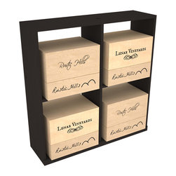 Wine Racks America - Solid Case Wine Storage Bin in Pine, Black - Simple and effective, this case stores up to 8 six bottle wooden cases or 4 cardboard cases. Paired with a culinary grade Butcher's Block, this wine storage bin becomes a focal point for wine accessories. This rack is built to last. That is guaranteed.