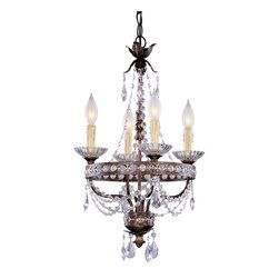 Savoy House 1-1043-4-8 14 Inch Mini Chandelier - Un Petit Antique for your home! New Tortoise Shell with Silver Gold Finish; Clear Crystals; Cream Drip Candle Covers