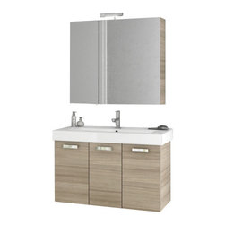 ACF - 40 Inch Larch Canapa Bathroom Vanity Set - A sensible piece for a high-end or contemporary personal bathroom, this wall hung bath vanity is the perfect option.