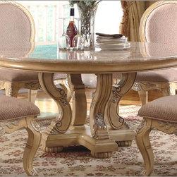McFerran Home Furnishings - Marble Top Round Dining Table in White - MCFRD0018-6 - McFerran Home Furnishings - Marble Top Round Dining Table in White - MCFRD0018-6060