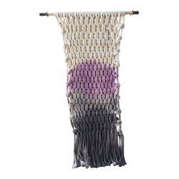 Untitled Rug - Wall Hanging - Lavender and black wall hanging, 100% cotton hand dyed on an oak dowel.  All Untitled Rug wall pieces come with hardware specific to the wall hanging.
