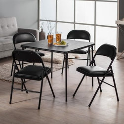 Meco Sudden Comfort Deluxe Double Padded Chair and Back- 5 Piece Card Table Set - When it's your turn to host bridge or Bunco, make sure you have the Sudden Comfort 5-Piece Card Table Set - Black to keep everyone comfortable while they focus on the game. Decked out in sophisticated black, this table and chair set won't detract from the décor of your lovely home. The classic square card table has a sturdy steel frame supporting a hardboard top. The legs fold flat for storage and have E-Z action slide leg locks for quick set up or tear down. Both the extra-wide seats and contoured backs of the four included chairs are padded with 1.5-inch-thick high density foam. The quality Y-frame design and triple-welded leg braces guarantee that the chairs won't collapse, even when the competition gets rowdy. The table top and the padded chair seats are covered in vinyl, which quickly wipes clean in the likely event of food and drink spills. Non-marring leg caps prevent the table and chairs from scuffing your floors or snagging on the carpet.