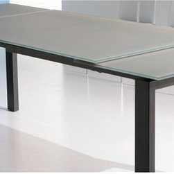 Bontempi Casa - Telesio Extension Dining Table w Steel Frame & Gray Glass Top - Featuring an innovative extension that will allow more friends and family to join you at your table, this Italian made dining table will be a modern addition to any decor. Featuring a dove gray glass top and a steel frame in chocolate brown finish, the table will bring an urban style to any decor. Extension dining table. Opalescent dove grey top glass and aluminum extension. Made from steel frame in dark brown. Made in Italy. Closed: 51 in. L x 33.5 in. W x 29.5 in. H. One Extension: 71 in. L x 33.5 in. W x 29.5 in. H. Two Extensions: 91 in. L x 33.5 in. W x 29.5 in. H