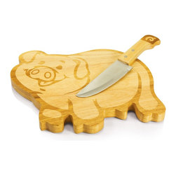 Picnic time - Piggy Cutting Board w/ knife - Pig-shaped cutting board with a large carving knife that rests in the board, doubling as pig's tail.