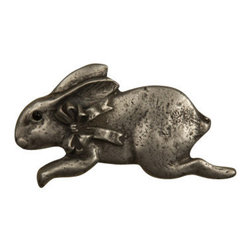 Anne at Home Hardware - Bunny with Bow - Left Knob, Antique Bronze - Made in the USA - Anne at Home customized cabinet hardware enables even the most discriminating homeowner to achieve the look of their dreams.  Because Anne at Home cabinet hardware is designed to meet your preferences, it may take up to 3-4 weeks to arrive at your door. But don't let that stop you - having customized Anne at Home cabinet knobs and pulls are well worth the wait!- Drill Centers - 2.5  - Available in many finishes.