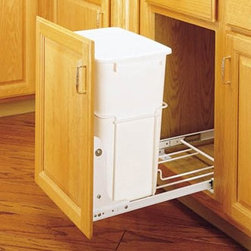 Rev-A-Shelf Single Pull Out 3/4 Extension Slides 35 qt. Trash Can - The Rev-A-Shelf Single Pull-Out 3/4 Extension Slides 35-Quart Trash Can will keep all garbage neatly tucked away under a cabinet. The plastic trash can features a heavy-duty wire frame construction 3/4-extension ball bearing slides and easy bottom-mount installation with just four screws. The durable pull-out waste container is available in a white polymer finish. It arrives fully assembled and carries the standard Rev-A-Shelf lifetime guarantee. Dimensions: 22L x 14.375W x 19.25H inches. Minimum cabinet opening Width: 14.5 inches Depth: 22.125 inches Height: 19.375 inches About Rev-A-ShelfOriginally a division of Ajax Hardware Rev-A-Shelf was established in 1978 as a family-owned manufacturer of a variety of helpful home products. Rev-A-Shelf offers Lazy Susans kitchen drawer organizers cabinet and pantry pull-outs and functional waste containers. All products consist of polymer wire wood and stainless steel components which will seamlessly complement kitchen appliances and accessories. Rev-A-Shelf aims to revolutionize the way kitchens are organized across the country.