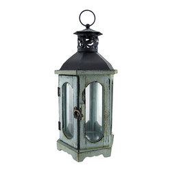 Zeckos - Blue Old World Candle Lantern 14 In. - This candle lantern is a great way to accent and light up your home With an old world feel, this lantern is great for providing just the right touch and setting the perfect mood. In the front, the lantern features a door fastened by a brass clasp, for easy access to the interior. The interior of this lantern is large enough to fit a candle 6 inches tall and 2 inches wide and features a reflective base to set the candle onto. The lantern is made of polyresin while the top and hanger are both made of metal. Measuring 14 inches tall with 6 equal measuring 3.5 inch side, this lantern is the perfect fit anywhere in the home.