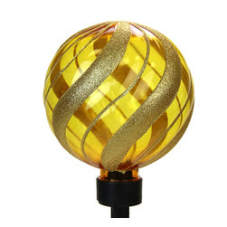 "Exhart - Solar Red Medium Glitter Orb Garden Stake - Medium Solar Glitter Orb Garden Stake. Stands 34"" tall. Is a great piece to decorate any yard or garden. Made in China"