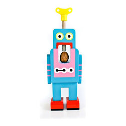 Robot Nut Crackers, Large (Blue) - Retro Wooden Robots Crack Tough Nuts. In the future robots will fulfill all manner of helpful tasks around the home.  the future has arrived with these vintage looking wind-up robots whose specialist task is to crack open nuts.