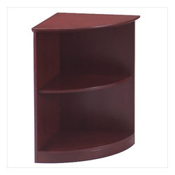 "Mayline - Mayline Corsica 2 Shelf Quarter-Round Bookcase in Sierra Cherry - Mayline - Bookcases - VBQ2CRY - The Corsica veneer conference room furniture features elegant lines with excellent durability. Available in two rich finishes REAL Office Furniture features AA-grade select North American hardwood veneers throughout. Beveled 2"" thick surfaces."