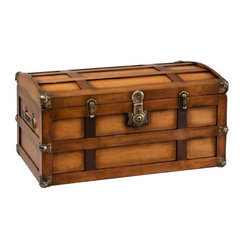 """Fifthroom - QUICK SHIP Maple Steamer Trunk - This nostalgic trunk is created with our """"Old World"""" distressing technique to become your family's next heirloom.  The walls are solid maple and includes a cedar slide tray. Accented with antiqued brass hardware and genuine leather straps.  We add lacquer to keep this trunk looking stunning for years to come."""