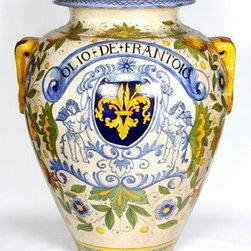 """Artistica - Hand Made in Italy - Majolica: Large Orcio """"Olio De Frantoio"""" (Oil-Press Olive Oil) - Majolica Collection:"""