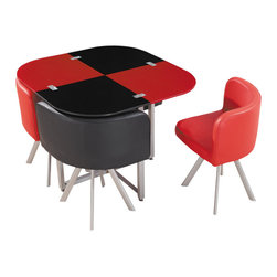 Global Furniture - Global Furniture USA 536 5-Piece Dining Room Set in Red and Black - Perfect for smaller spaces and unique in style this compact dining table Finished in black and red with silver accents is sure to enhance your current decor.