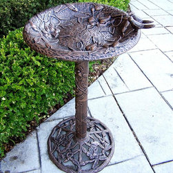 Oakland Living - Hummingbird Theme Bird Bath w Filigree Base ( - Finish: Antique PewterCast aluminum and iron construction. Brass hardware. High grade baked on polyester powder coated finish. Pictured in Antique Bronze. 17 in. Dia. x 32 in. H