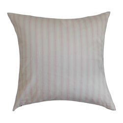 """The Pillow Collection - Kelanoa Stripes Pillow Bella Twill 20"""" x 20"""" - Adorned with slim vertical stripes in natural shades, this square pillow is a pleasing decor piece. You can place this throw pillow in any room inside your home. This accent pillow looks great on its own and can be paired with other patterns from our pillow collection. This 20"""" pillow is made from 100% soft cotton material, which is easy to clean and maintain. Hidden zipper closure for easy cover removal.  Knife edge finish on all four sides.  Reversible pillow with the same fabric on the back side.  Spot cleaning suggested."""