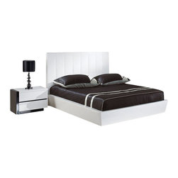 Global Furniture USA - Trinity Black & White Veneer Queen Five Piece Bedroom Set - Update your bedroom with this contemporary Trinity 5 PC Bedroom Set and add a touch of modern design. The contemporary bed comes in white finish and offers a tall headboard design. The dresser and nightstands offer plenty of storage space for your clothes and other essentials. The case goods come in a matching white lacquer finish with black lacquer accents to contrast it. The bedroom set shown includes a queen size bed, two nightstands, a dresser, and mirror.