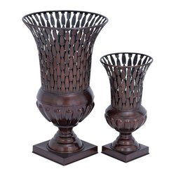 "Benzara - Vase with Petal Patterns and Intricate Design - Set of 2 - Enhance the interior decor when placed anywhere in the home or workspace with these beautiful vases. Expertly crafted with intricate details, these vases add a dash of richness and artistic splendor to the living space. This set consists of two beautiful vases that come in different sizes, one small and one big. The base is square shaped and sturdily designed to offer adequate balance. From the base arises an exquisitely carved pedestal that flowers out into petal like patterns to hold the main vase portion elegantly. Each of the vases is spacious and the top portion opens out wide to complete the stunning display that these vases are bestowed with. Epitomizing expert craftsmanship, the intricate design on the main vase portion comes with regular patterns running throughout. Made of high quality metal, these vases are bestowed with the endurance to last long and gracefully adorn the interiors. They are so perfect that you can place them with or without flowers to enhance the interiors of your home or office..; Set of two vases in different sizes; High quality metal vases; Square base with beautiful pedestal; Enhances the home as well as office decor; Weight: 9.9 lbs; Dimensions:17""W x 17""D x 30""H; 11""W x 11""D x 21""H"