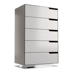Modloft - Park Tallboy Dresser, Steeple Gray Matte-White Matte - The Park dresser is a formidable addition to your living space. This five-drawer vertical chest is stylishly spacious, thanks to sumptuous details including linear handles, luxe linen drawer linings, and a striking steel base. Finished in a two-tone matte lacquer finish with a durable exterior and European soft-closing drawer glides, the Park dresser offers effortless everyday accessibility. Available in Asphalt exterior with Frappe front panels, or Steeple Gray exterior with White front panels. UV coated matte lacquer finish. Ships assembled. Imported.