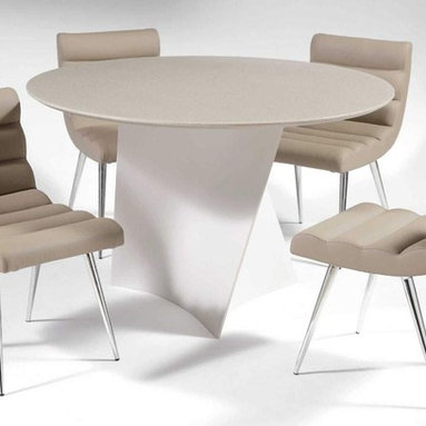 Elegant Round Leather Breakfast Table Sets and Chairs - Contemporary dining table with twisted base and four chairs. Super comfy chair. Very resistant surface, easy to clean. Set includes dining table and side chairs. Top finish: Sandstone. Base finish: Taupe.