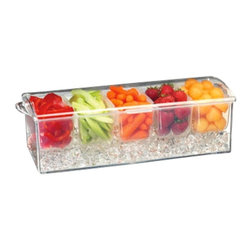 PRODYNE - Acrylic Condiments Tray - Keep your cool with a party tray that delivers. Fill the deep, bottom tray with ice, pack the five compartments with your favorite goodies and let it take care of the rest. Veggies, fruit and garnishes stay crisp and cold — and keep fresh and tasty for the life of your party. Dishwasher safe.