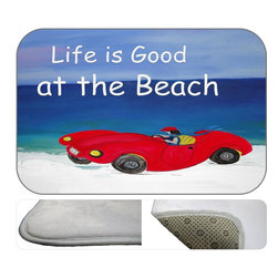 Life Is Good At The Beach Plush Bath Mat, 20X15 - Bath mats from my original art and designs. Super soft plush fabric with a non skid backing. Eco friendly water base dyes that will not fade or alter the texture of the fabric. Washable 100 % polyester and mold resistant. Great for the bath room or anywhere in the home. At 1/2 inch thick our mats are softer and more plush than the typical comfort mats.Your toes will love you.