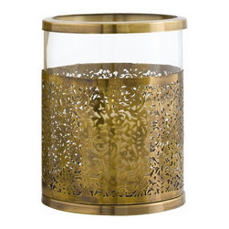 Arteriors - Benton Small Hurricane Lantern - Inside or out, your table will make a statement with this beautiful clear glass hurricane lantern. Banded with an antique brass filigree patterned sleeve, and topped with a smooth brass rim, this hurricane lantern will give you visual pleasure for years to come.