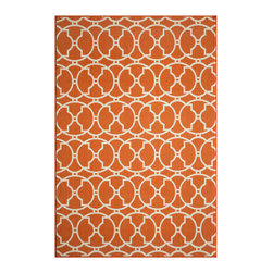 Momeni - Baja Collection Orange - BAJ11 - Rugs by Momeni - Bold and exciting colors patterns allow trend-conscious customers to create their ultimate indoor/outdoor oasis.  Baja thrives on simple graphic patterns with a refreshing twist of runway fashion and lively color palettes.  Machine-made in Egypt of 100% polypropylene and approved for use outdoors.