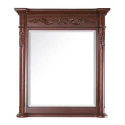 """Avanity PROVENCE Mirror 36"""" PROVENCE-M36-AC - The Provence Collection is offered in a beautiful distressed cherry wood finish with hand carved French details. This vanity is available in five sizes with optional matching granite tops. It offers a concealed drawer inside all single cabinets for your storage needs. Coordinating pieces include matching mirrors and linen tower to complete the look."""