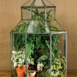 Pierre Octagonal Conservatory - Zinc - A stunning glass box to add botanicals to for use as a terrarium, or however you see fit, the Pierre Octagonal Conservatory is a limited edition piece that is ideal for a console in the living area, or near a bay window in the kitchen where the light hits it just so... Place orchids, air plants or ferns inside for a beautiful greenhouse look that is sure to be appreciated by your house guests.