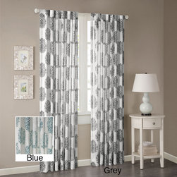 Madison Park - Madison Park Emerson Arabesque Curtain Panel - These curtains feature an updated arabesque pattern achieved by a burn-out technique on a semi-sheer textured fabric. Available in 84- and 95-inch lengths, this window treatment offers a millennial look that gives your room a designer decor.