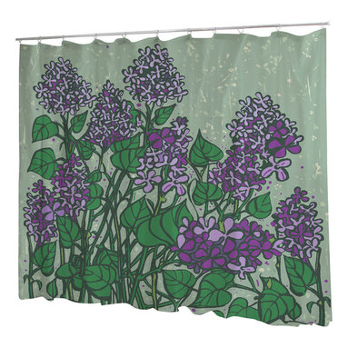 Uneekee - Uneekee Lilacs Shower Curtain - Your shower will start singing to you and thanking you for such a glorious burst of design as you start your day!  Full printing on the front and white on the back.  Buttonhole openings for shower rings.