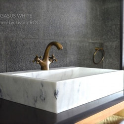 "PEGASUS WHITE 23""x15""x4 WHITE MARBLE BATHROOM VESSEL SINK+FAUCET HOLE - Reference: BB514EW-US"