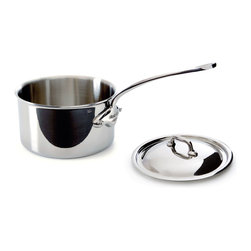 Mauviel M'cook 3.6 qt Stainless Steel Saucepan & Lid - The Mauviel M'cook 3.6 Quart Saucepan With Lid offers professionals and household cooks the highest culinary technology. Five layers of materials provide perfect conductivity for each product thanks to fast and uniform heat distribution. The handles are made from cast stainless steel and reinforce the pure and modern design of this range. Each piece of Mauviel cookware is handcrafted in France.