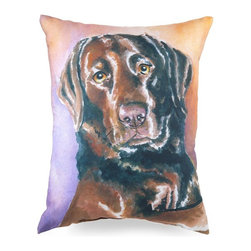 Lava - Painted Lab 16X20 Pillow (Indoor/Outdoor) - 100% polyester cover and fill.  Suitable for use indoors or out.  Made in USA.  Spot Clean only