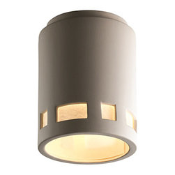 Justice Design Group - Radiance Bisque LED Cylindrical Flush Mount with Prairie Window - - LED Technical Data - Driver Efficiency: Greater than 80% Light, Engine Efficiency: 77 Lumens per Watt (initial) We recommend installing LED fixtures on a dimmer switch  - Bulb is included  - Dimmable down to 5% with the use of Incan, Triac or ELV dimmer, not included  - Lumens: 1000 Lumens, which is equivalent to approximately one 75 watt incandescent bulb  - Color Temperature (CCT): The light quality is warm (3045K) and truly stunning  - Average Hours: Rated for 50,000 hours, which means no more climbing ladders to change light bulbs!  - Color Rendering Index: 90  - Beam Spread: 120�  - Shade Material or Composition: Ceramic  - Shade is made in the USA; canopy and socket(s) are imported Justice Design Group - CER-6107-BIS-LED-1000