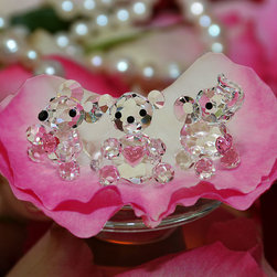 """Crystal Gifts 'With Love"""" - miniature crystal mouse, miniature crystal bear, miniature crystal elephant"""