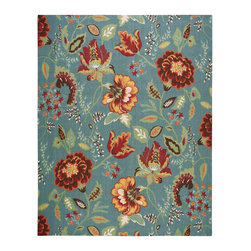 Nourison - Nourison Vista VIS51 8' x 10' Blue Area Rug 13797 - An oversized floral design is a perennial favorite that slips easily into any aesthetic, when it blooms in thrilling hues of brick, jade, blue, gold, white, rose, orange and crimson on a true blue background. Meticulous hand carving imparts an amazing tone and texture.