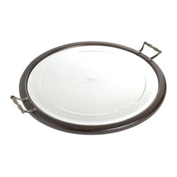 Go Home - Round Mirrored Tray - This beautiful Round Mirrored Tray have dark round edges and two handles , tray is perfect for serving and entertaining, or to display your favorite accents in any room in your home.