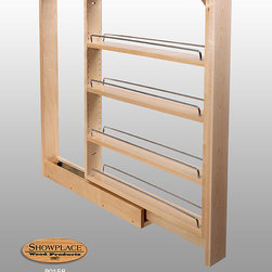 Base Slim Pull-out Rack - Showplace Cabinets - Our Base Slim Pull-out Rack is available in two widths with one fixed shelf and three adjustable shelves each with chrome side rails.