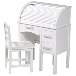 Guidecraft Jr. Roll-Top Wood Desk, White - Designed for children (or smaller adults) this unit is a replica of a classic roll-top desk. The drawers provide plenty of storage below the desktop, and the small compartments, pigeon holes and pencil drawer keep the area behind the roll-top organized.
