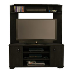"South Shore - South Shore Vertex Transitional Corner TV Stand in Ebony - South Shore - TV Stands - 4277629 - This stylish and practical TV stand was specifically designed to be placed in a corner maximizing available space. Able to accommodate TVs up to 42"""" it offers a combination of open and closed spaces to store your electronics DVDs and various decorative items."