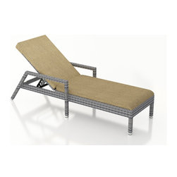 Forever Patio - Urbana Weathered Stone Modern Chaise Lounge, Heather Beige Cushion - The Harmonia Living Urbana Rattan Patio Reclining Chaise Lounge with Tan Sunbrella cushions (SKU HL-URBN-WS-RCL-HB) brings comfort and style to your outdoor space. Each chaise is constructed with durable, thick-gauged aluminum frames which are protected by a powder coating for superior corrosion resistance. The wicker is made of High-Density Polyethylene (HDPE) with its Weathered Stone color and UV resistance infused into the strands themselves. This creates a rich wicker color that holds up incredibly well with age.Thick, comfy cushions are covered in Canvas Heather Beige fabric by Sunbrella, the industry leader in mildew- and fade-resistant outdoor fabric. This chaise adheres to the highest quality standards for modern patio furniture in the market today, meaning it will last for years to come.