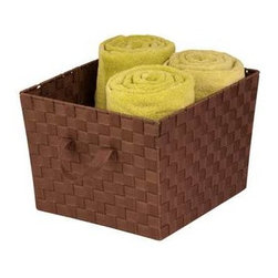 """Large Woven Strap Tote, Brown - Honey-Can-Do STO-02116 Double Woven Task-It Basket, Java. Constructed of durable and easy-to-clean strapping, this basket adds a unique style to any room that is in need of some extra storage. And at 15"""" x 13"""" x 10"""", it is large enough for your household essentials but still fits in a closet or on a shelf. Attached handles make carrying the basket simple and convenient. Coordinates with our Honey-Can-Do task-it baskets in other sizes and colors."""