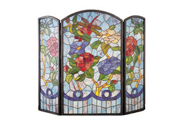 Meyda Tiffany - Meyda Tiffany Dragonfly Flower Fireplace Screen X-43272 - Art glass in subdued hues helps to create a vibrant and visually stunning effect to this Meyda Tiffany fireplace screen. From the Dragonfly Collection, this art glass fireplace screen features a plethora of flowers with a dragonfly dancing through them. Muted tones help to create a softened look that is sure to delight.