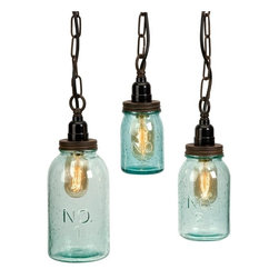 """IMAX CORPORATION - Lexington Mason Jar Pendant Lights - Set of 3 - Green tinted bubble glass highlights the mason jar shape which is accented with numbers. This set of three pendants make a home for the vintage-style Edison bulbs they protect. Set of 3 in various sizes measuring around 15""""L x 6.5""""W x 13.75""""H each. Shop home furnishings, decor, and accessories from Posh Urban Furnishings. Beautiful, stylish furniture and decor that will brighten your home instantly. Shop modern, traditional, vintage, and world designs."""