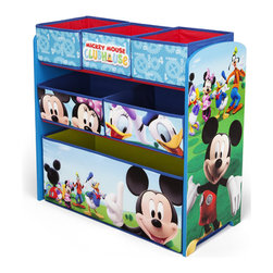 Adarn Inc - Newly Designed Six Boxes Bins High Capacity Mickey Mouse Toy Organizer Chest - This newly designed Mickey Mouse 6 Multi-Bin Toy Organizer is the perfect storage item to keep your child's toys in order. Featuring all of your child's favorite Mickey Mouse characters like Mickey Mouse and Donald Duck, a brand new color scheme, and six uniquely sized storage boxes, this organizer makes cleaning up fun and exciting. Meets all JPMA safety standards. Some assembly required. Compliments other Mickey Mouse item sold separately.