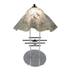 Mathews & Company - Metropolis Table Lamp with Large Glass Shade - Our Modern style Metropolis Table Lamp with Large Glass Shade is a beautiful piece of hand-crafted home furniture. Lamp is UL Approved and pre-wired, all you have to do is add a light bulb and plug it in to start enjoying its warm light. Pictured in Cloudy Gray shade and Chrome finish.